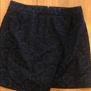 Madewell asymmetrical black lace skirt